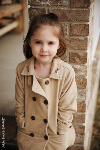 Fall portrait of cute preschool girl