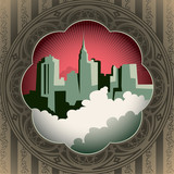 Vintage background with stylized city panorama.