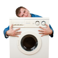 Repairman embraces washing machine