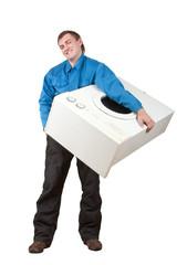Repairman holding washing machine. Isolated on white