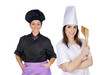 Couple of cooks women with black uniform