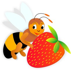 bee and strawberry