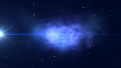Animation of a nebula with stars. HD.