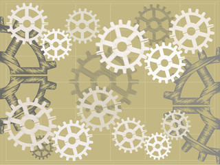Blue print sketch style gears vector illustration