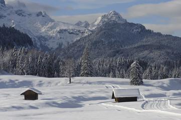 Schnee Winter Landschaft in Bayern