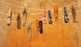 vintage clothespin isolated on Wood wall