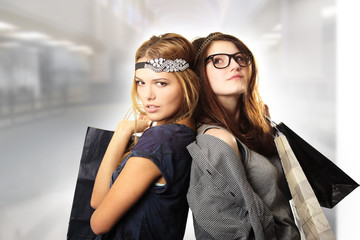 Shopping spree of teenage fashion girls at the mall