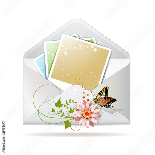 Blank colored photos in envelope decorated with flower