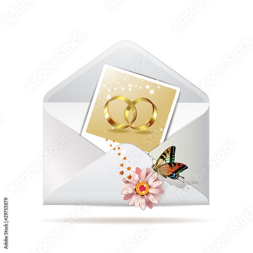 Envelope with photo of  two wedding ring