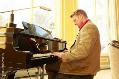 Young pianist at an afternoon lounge