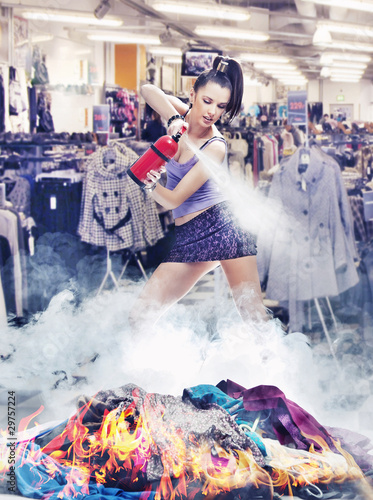 Nice girl irl is extinguishing the fire of clothes