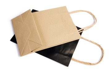 Two paper bag on white isolated