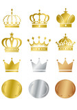 Fototapety Gold Crown Icons Set