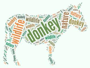 Textcloud: silhouette of donkey