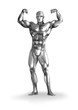 Illustration of a chromeman with muscular body