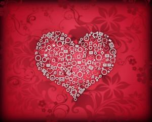 Валентинка, узорчатое сердце