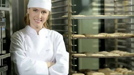 Portrait of a female baker at work; HD 720, H 264