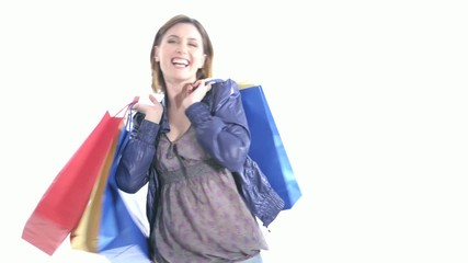 Excited Shopper Playing with shopping bags; HD 720, H 264