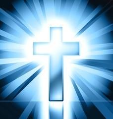 blue christian cross symbol