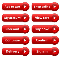 E-COMMERCE Web Buttons (add to cart buy shop online order now)