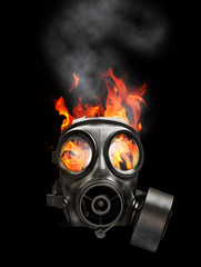 gas mask and fire
