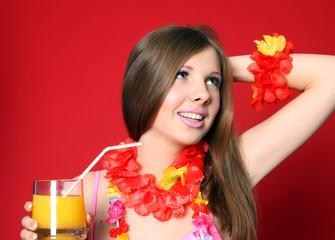 Aloha Bikini Girl with juice