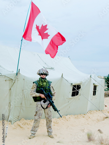 soldier near the army tent