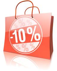 Einkaufstasche 10 Prozent Rabatt rot