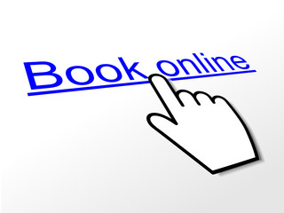 BOOK ONLINE Hyperlink (order now e-bookings web internet button)