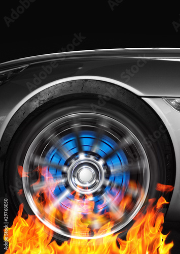 Car wheel and flames