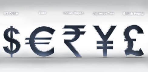 Silver money simbols of the world on white 3d render