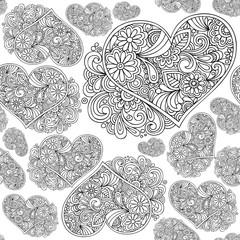 sfondo tappezzeria a testura modulare con cuori e fiori