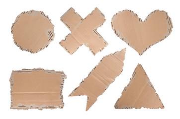 cardboard with heart, circle, triangle, cross and arrow shape