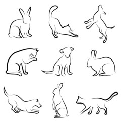 dog, cat, rabbit animal drawing vector