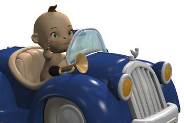 cute baby driving a blue car