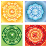 bright abstract circle backgrounds, mandalas of different chakra poster