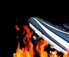 football boot flames