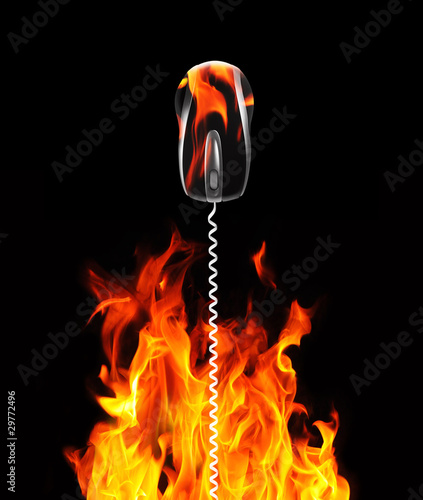 mouse cable and flames