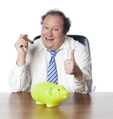 homme d'affaires cochon tirelire réussite financière