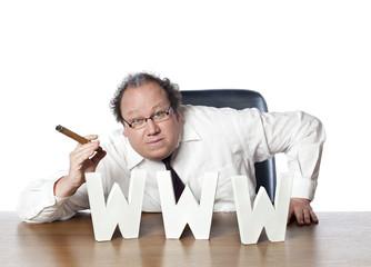 www adresse mail internet et homme d'affaires