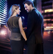 Amazing couple in love over the city background