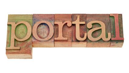 portal - word in wood letterpress type