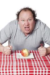 homme obèse en manque de nourriture grasse