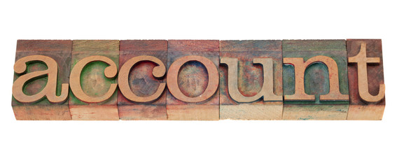 account - word in wood letterpress type