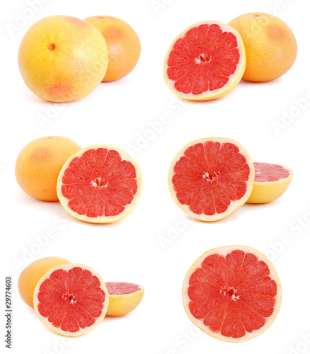 Set of images with grapefruits on white background