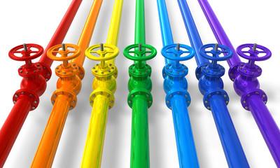 Rainbow pipelines with valves