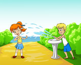 Kids play with water in summer day