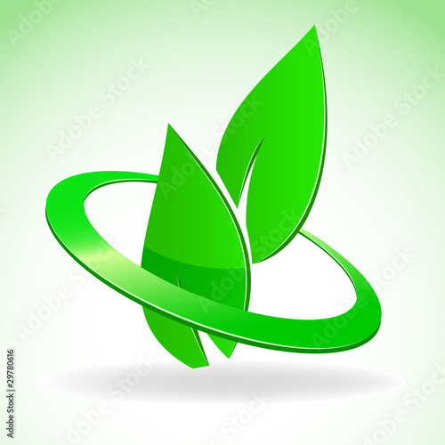 Emblem of two green leaves in glossy circle