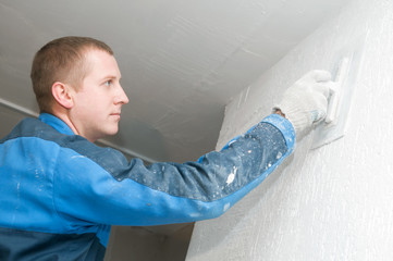 Plasterer at work