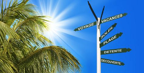 Panneaux de direction voyage au soleil